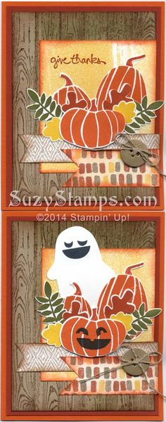 Stampin' Up! Cards - 2014-10 Class - Fall Fest, Hardwood, Good Greetings stamp sets, Fun Fall Framelits, Color Me Autumn Designer Series Paper, Halloween, Thanksgiving