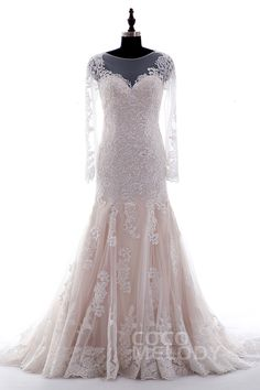 Queenly Trumpet-Mermaid Illusion Natural Court Train Tulle and Lace…