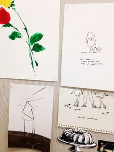 jacob's pin board is covered in his own illustrations—his one of a kind illustrations have become a prized collectors' item around the office. (kate spade new york home)