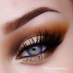 Gold metallic eye makeup #eyes #eye #makeup #metallic #smoky #bold #dramatic