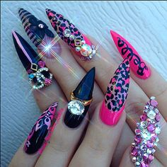Chanel bling stiletto nails mix n match nails