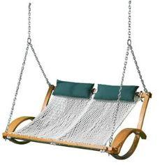 Outdoor swinging tandem hammock loveseat.