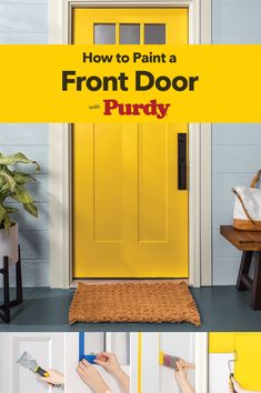Give your door a makeover with our helpful guide. With a bold, bright color and the right painting tools from Purdy®, you can create instant curb appeal in a snap. Paint Colors For Home, House Colors, House Painting, Painting Tools, Painted Front Doors, Painted Exterior Doors, Diy Home Repair, Home Upgrades, Home Repairs
