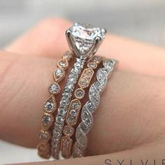 Focused bought wedding ring inspo other Classic Engagement Rings, Rose Gold Engagement Ring, Solitaire Engagement, Solitaire Diamond, Stacked Engagement Ring, Solitaire Rings, Wedding Engagement, Ring Set, Ring Verlobung