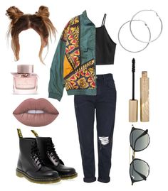 """""""Untitled #2212"""" by inocorbe ❤ liked on Polyvore featuring H&M, Topshop, Dr. Martens, Lime Crime, Melissa Odabash, Stila, Ray-Ban and Burberry"""