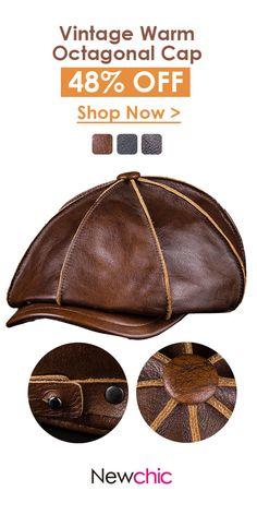 Men s Genuine Leather Warm Cap  outdoor  leather  cap Mens Beret Hat b0f8bc7d137f