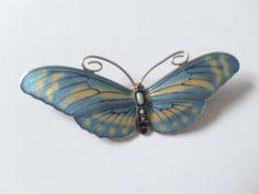 MARIUS HAMMER SILVER 930S Blue & Yellow ENAMEL BUTTERFLY Brooch
