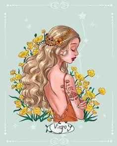 Virgo Art, Virgo Sign, Zodiac Art, Virgo Zodiac, Cute Cartoon Girl, Cartoon Art, Zodiac Signs Pictures, Cute Girl Illustration, Zodiac Characters