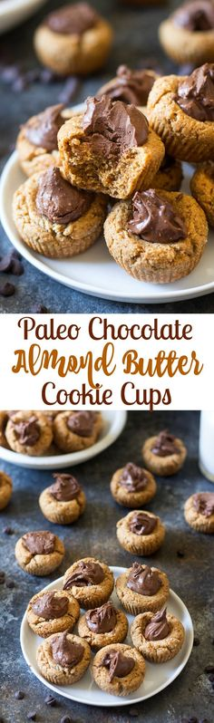 Chocolate Almond Butter Paleo Cookie Cups - chewy almond cookie cups with almond butter fudge filling. Gluten free, grain free, dairy free.  These Paleo cookies are perfect for healthy holiday baking! #BobsHolidayCheer @Bob