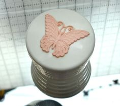 Vintage Butterfly My Beauty Box Empty Round off white Plastic Powder Container