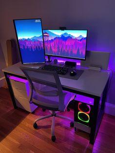 Gaming Room Setup, Computer Setup, Pc Setup, Desk Inspo, Workspace Inspiration, Room Goals, Desk Set, Pc Gamer, My Room