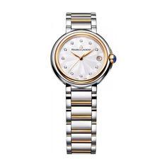 Reloj de señora Maurice Lacroix, colección Fiaba, caja de acero brillo con bisel rosé, armys de acero bicolor acero/rosé brillo, esfera con diamantes, cristal zafiro e impermeable a 3 atm.
