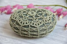 crochet lace stone sage green // rustic beach // river rock // housewarming gift // cottage chic //  ring bearer pillow // bowl element via Etsy