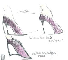 Heel Jewel Shoe drawing by Alessia Semeraro / antique Chinese shoes inspiration //