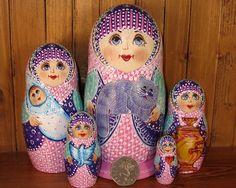 Russian doll 5 MATT Hand Painted Babushka Cat Baby Samovar Blue White signed ART | eBay