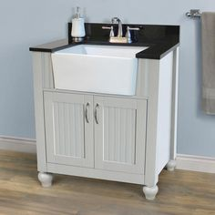 "Upstairs bathroom sink/vanity (Magickwood's Arcadian).  On down the road we will build a new cabinet to house this sink basin, based on design of Home Depot's Hampton Bay 44"" vanity or Menard's Charlotte 48"" vanity."