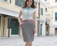 Fashionable Korea Stripe Falbala Leisure Skirt Orange Korea, Bridal, Orange, My Style, Hair Styles, Skirts, Clothes, Beautiful, Dresses