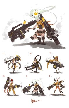 """""""Sekigan"""" I admire the contrast between stationary and dynamic posing, especially with the weapons. There is a uniqueness as far as the character versus the weapon, which I also appreciate. Character Creation, Game Character, Character Concept, Character Illustration, Illustration Art, Weapon Concept Art, Character Design References, Character Design Inspiration, Fantasy Characters"""