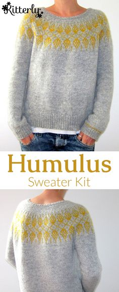 Humulus sweater knitting kit designed by Isabell Kraemer. Knitting Kits, Easy Knitting, Knitting Yarn, Knit Basket, Kits For Kids, Knitting Accessories, Knitted Bags, Knit Crochet, Latest Trends
