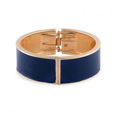 Bracelet rigide émail bleu et doré