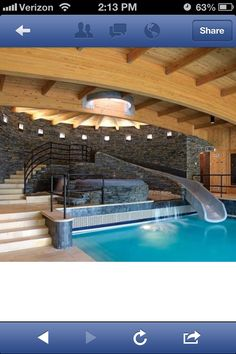 Indoor pool with a slide!