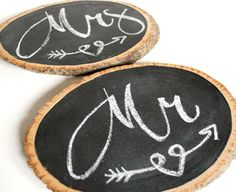 rustic wedding chalkboard signs // lovebirds chair markers