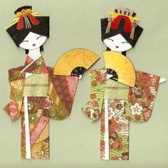 Risultati immagini per geisha origami diagram Origami Paper Art, Paper Crafts, Cute Crafts, Diy And Crafts, Asian Quilts, Asian Cards, Japanese Paper, Japanese Doll, Japanese Geisha