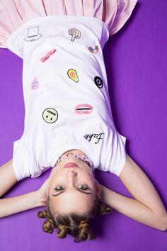 #DollsKill #LocalHeroes #photoshoot #lookbook #model #cute #purple #girl #skirt #tshirt #fake #patches #avocado #middlefinger #buns