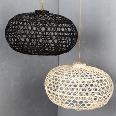 Handwoven Bamboo Short Lampshade In Black and White from INARTISAN