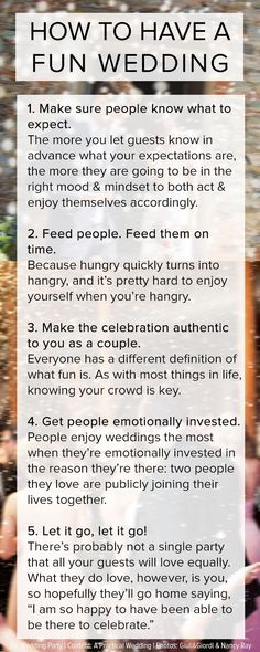 5 no-fail ways to have a fun wedding! I'll love these planning tips and tricks (and so will your wedding guests) | http://www.weddingpartyapp.com/blog/2014/10/01/no-fail-ways-to-have-a-fun-wedding-infographic/
