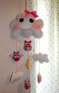 Hey, I found this really awesome Etsy listing at https://www.etsy.com/listing/228309034/handmade-baby-girl-whimsical-owl-mobile