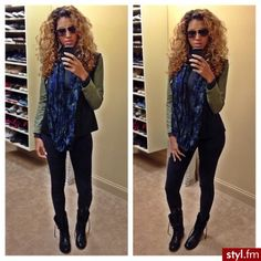 Cute scarf/boot outfit. and her hair!
