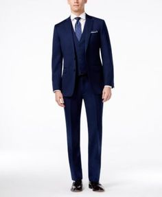 This vested suit from Calvin Klein X has a solid finish and extra-slim fit for the ultimate in refined outfitting. | Wool | Dry clean | Imported | Calvin Klein X extra slim-fit men's suit | Jacket: no