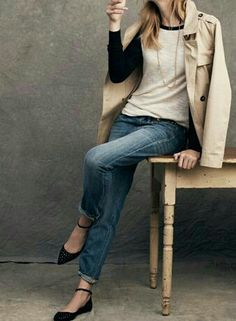 Looks We Love - Denim Jeans & More - Shop by Your Style - Madewell - foil dot city skimmers Ballerinas Outfit, Sweater Weather, Look Fashion, Autumn Fashion, High Fashion, Looks Jeans, Mode Simple, Looks Style, Mode Inspiration