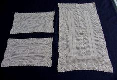 Set of Three Ivory Lace Table Mats c.1930 by chalcroft on Etsy, $9.95