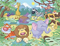 Jungle safari wall mural from Resene ColorShops - Charlotte we should find out price for this at plunket rooms