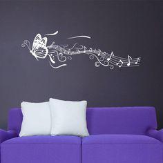 Musical Butterfly vinyl wall sticker     Autocollant mural vinyle Papillon musical