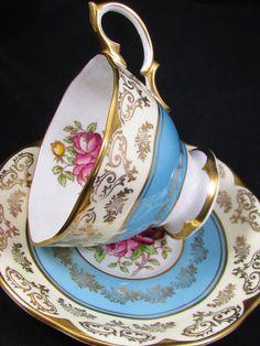 Royal Albert Sky Blue Mayfair HP Floral Tea Cup and Saucer   eBay