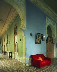 A certain blue, with an interesting, fresh green and red velvet. Michael Eastman in Havana