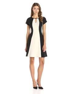 Sandra Darren Women's Cap Sleeve Color Block Flare Dress with Cutout ** You can find out more details at the link of the image.