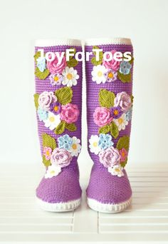 Crochet Boots for the Street Lilac Tenderness Spring Boots Violett Colors Folk Tribal Boots Boho Made to Order