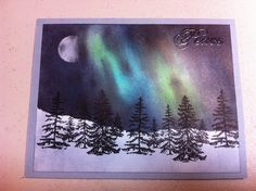 My take on the Aurora borealis! Card uses stampin up turqouise, green galore, navy and black. Trees by Inkadinkado. :)