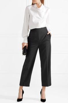 3.1 PHILLIP LIM classy Grosgrain-trimmed black wool-crepe tapered pants