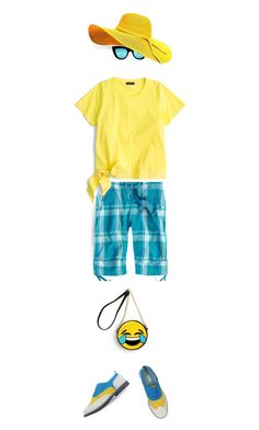 """""""go happy"""" by collagette ❤ liked on Polyvore featuring Title Nine, J.Crew, Quay and statementshoes"""