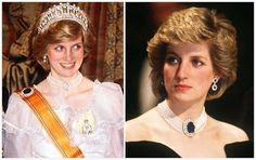 This large oval sapphire surrounded by two rows of diamonds was a brooch given to Diana by the Queen Mother as a wedding present. Though she wore it a couple times as a  brooch, as in the left photo, she soon turned it into the magnificent centerpiece of a seven strand pearl choker. Diana wore it often and it soon became her signature piece of jewelry.