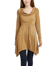 Love this Mustard Stripe Cowl-Neck Sweater Tunic - Plus by GLAM on ...