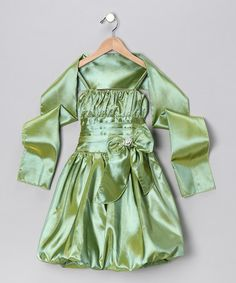 Take a look at this Sage Bow Bubble Dress & Shawl - Toddler by Cinderella Couture on #zulily today!