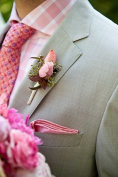 Mixed pink patterns, pocket square and rosebud boutonniere. Cute Wedding Dress, Fall Wedding Dresses, Colored Wedding Dresses, Wedding Colors, Dream Wedding, Wedding Day, Garden Wedding, Perfect Wedding, Wedding Bouquets