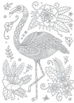 Craft Haven Flamingo - Free Coloring Page | Coloring - Birds and ...