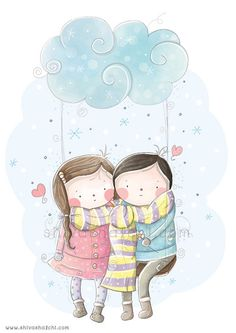 Children Illustration - Cute love, Couple In Love, Boy And Girl - A3